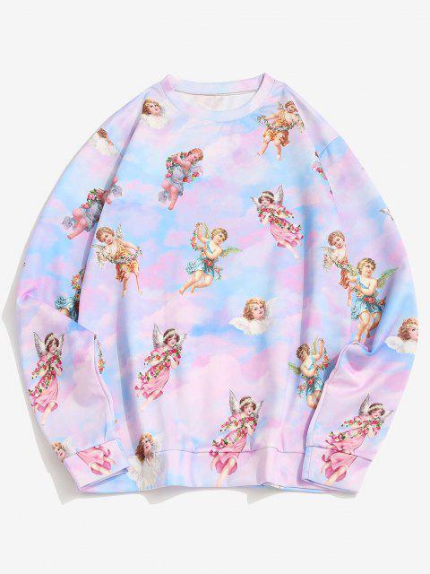 shop Tie Dye Print Renaissance Art Pullover Sweatshirt - MULTI L Mobile