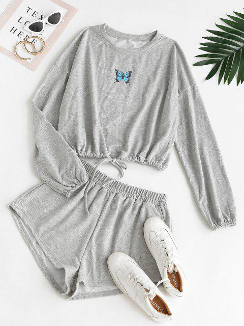 new Sweat Butterfly Print Two Piece Set - LIGHT GRAY M Mobile