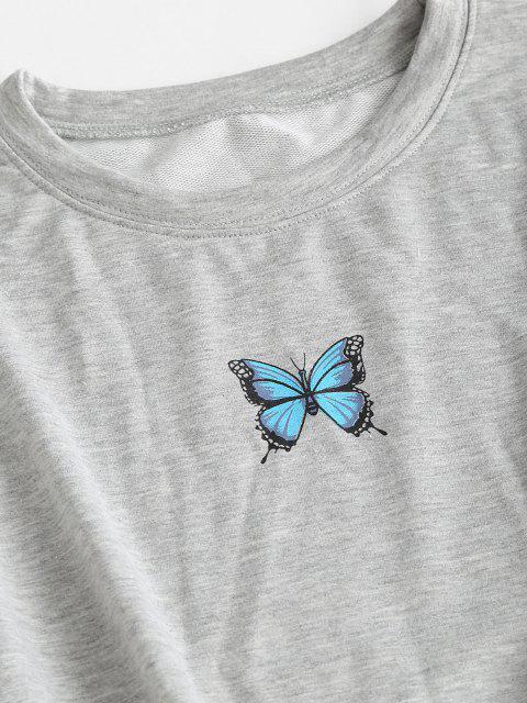 Ensemble de Deux Pièces Papillon Imprimé - Gris Clair S Mobile