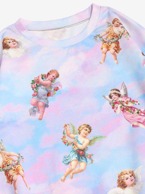 ladies Tie Dye Print Renaissance Art Pullover Sweatshirt - MULTI XL Mobile