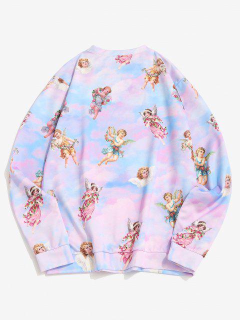 affordable Tie Dye Print Renaissance Art Pullover Sweatshirt - MULTI M Mobile