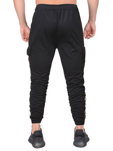 Pantalones Lápiz con Bolsillos de Solapa y Estampado de Letras - Negro 2XL Mobile
