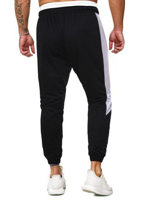 Buchstaben Grafik Kontrast Farbe Beam Füße Hose - Schwarz 2XL Mobile