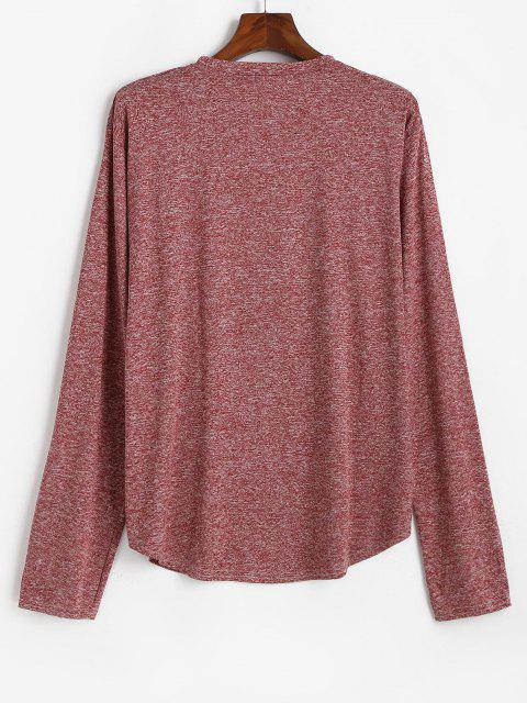 Long Sleeve Curved Hem Heathered T-shirt - نبيذ احمر S Mobile