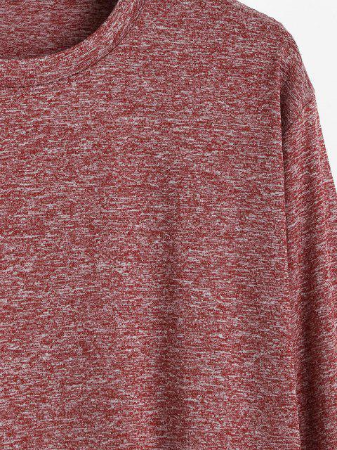 T-shirt de Manga Comprida com Bainha Curvada em Heathered - Vinho Tinto M Mobile