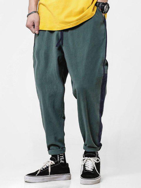 Pantalones Lapíz Casual a Rayas con Cordón - Verde 4XL Mobile