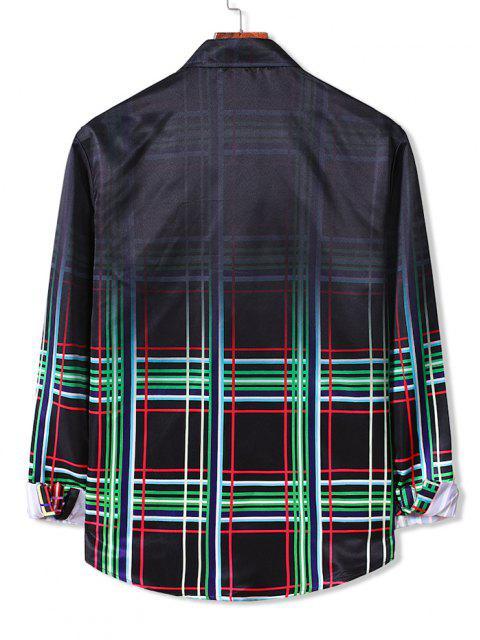 unique Ombre Plaid Long Sleeve Button Down Shirt - CLOVER GREEN M Mobile