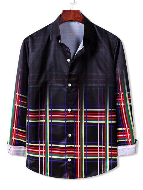 Camisa a Cuadros Mangas Largas con Botón Degradado - Rojo Lava XL Mobile