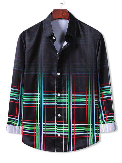 latest Ombre Plaid Long Sleeve Button Down Shirt - CLOVER GREEN 2XL Mobile