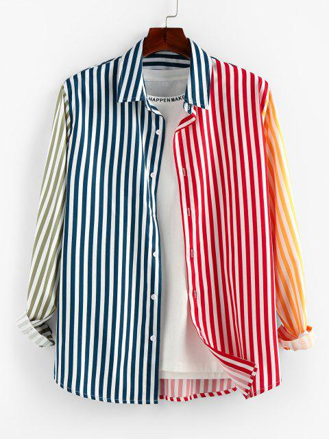 outfits ZAFUL Contrast Striped Print Button Up Shirt - MULTI S Mobile