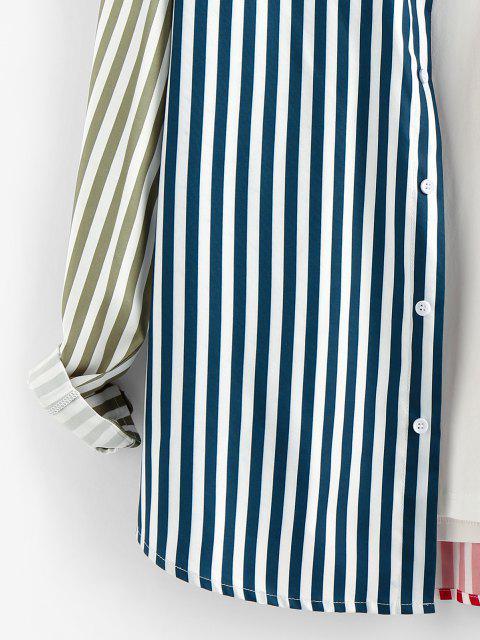 latest ZAFUL Contrast Striped Print Button Up Shirt - MULTI XL Mobile