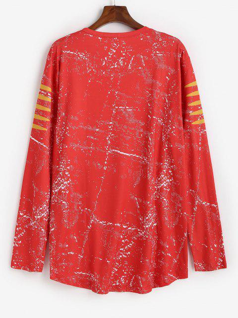 T-Shirt con Orlo a Pois e Stampa a Testa di Mucca - Rosso XL Mobile