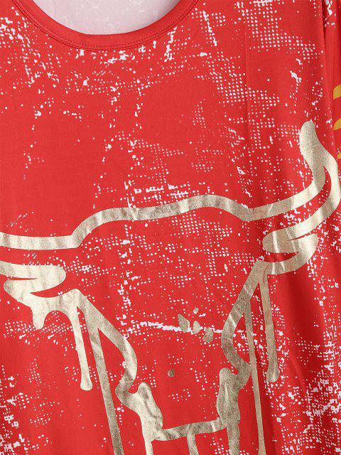 sale Cow Head Spot Print Curved Hem T-shirt - RED XL Mobile