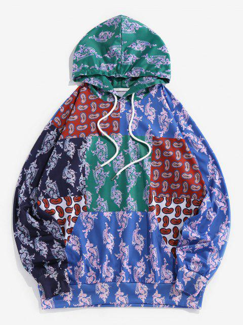 latest ZAFUL Paisley Patchwork Print Hoodie - MULTI L Mobile