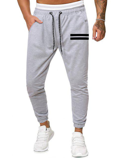 shops Striped Print Tapered Sports Pants - GRAY 2XL Mobile
