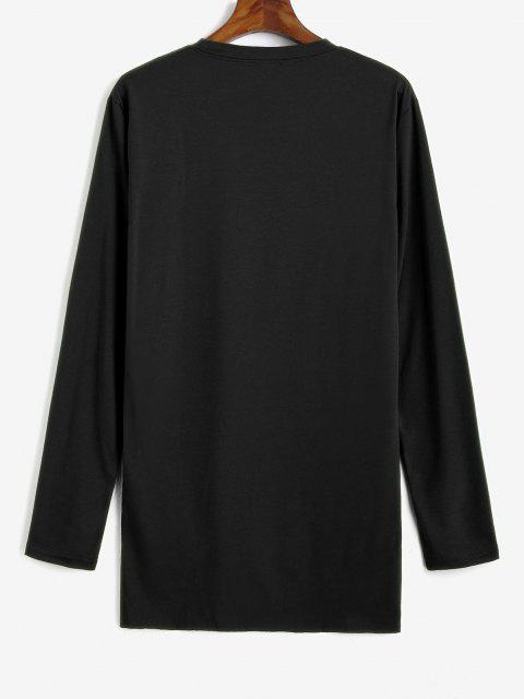 hot Side Slit Ripped High Low T-shirt - BLACK M Mobile