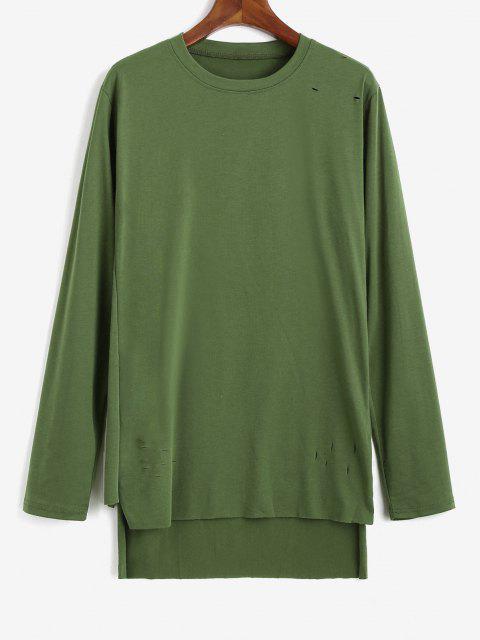 T-Shirt Asimmetrica Strappata con Spacco Laterale - Verde M Mobile