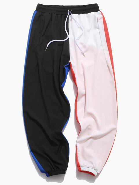 Farbblock Hose mit Elastischer Taille - Schwarz S Mobile