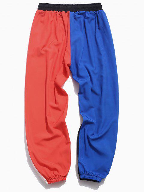 fancy Color Blocking Panel Elastic Waist Pants - BLACK XL Mobile