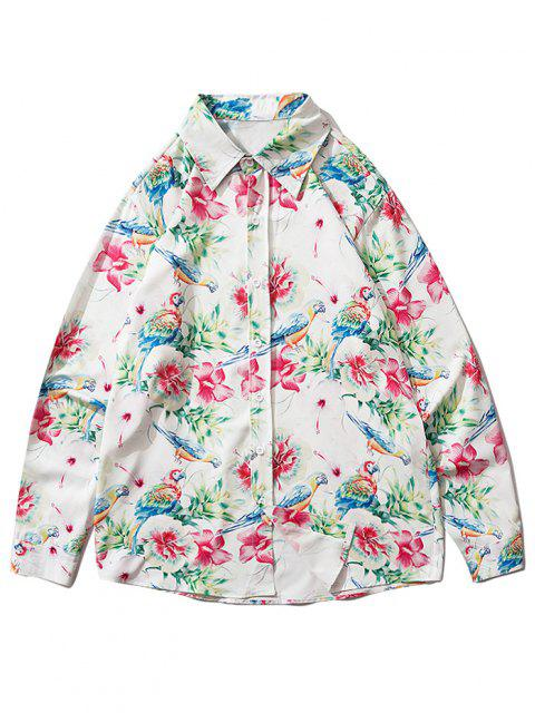 best Flower Parrot Print Button Up Shirt - VALENTINE RED XL Mobile