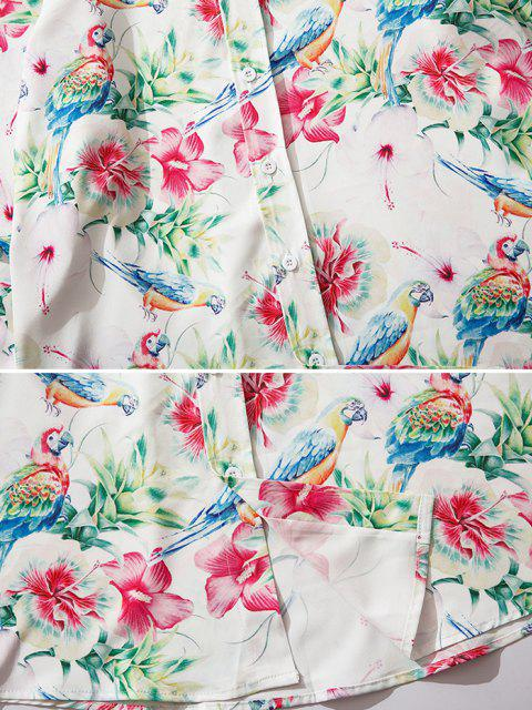 new Flower Parrot Print Button Up Shirt - VALENTINE RED S Mobile