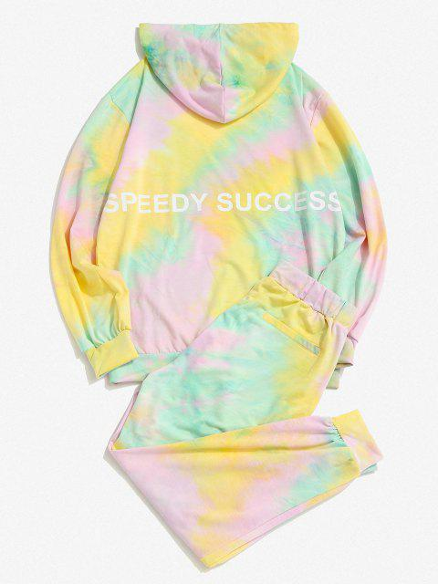 outfits Tie Dye Letters Print Sports Two Piece Set - MULTI S Mobile
