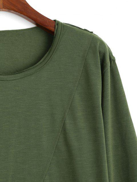 outfits Long Sleeve Applique Curved Hem T-shirt - ARMY GREEN XL Mobile