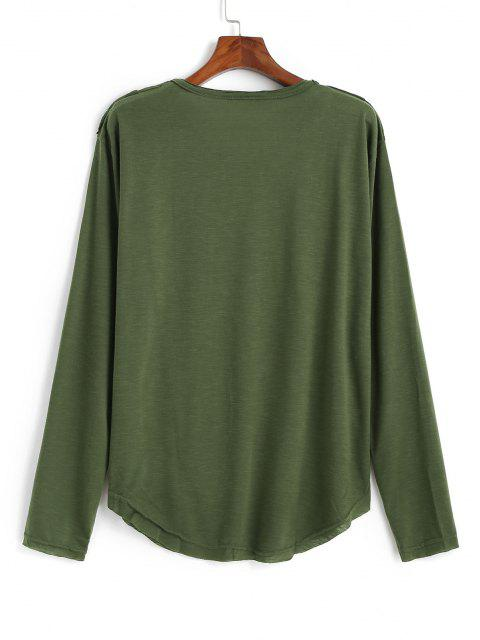 sale Long Sleeve Applique Curved Hem T-shirt - ARMY GREEN 3XL Mobile