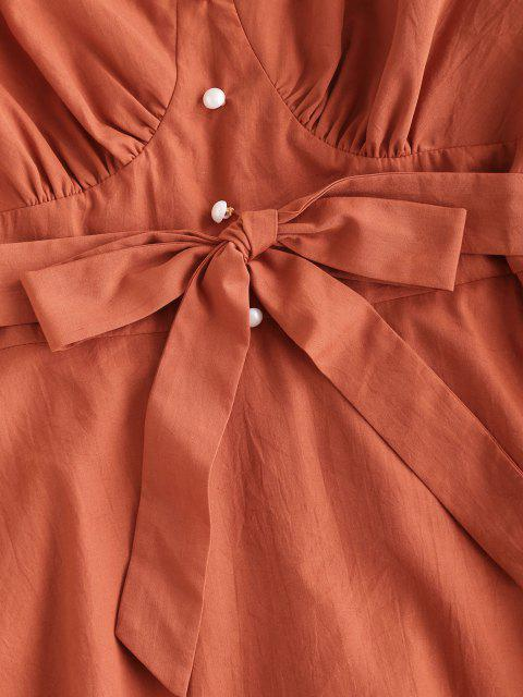 latest ZAFUL Belted Pearly Buttoned Off Shoulder Dress - ORANGE M Mobile