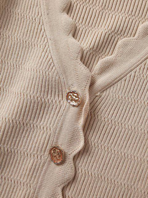 trendy Button Up V Neck Crop Cardigan - CHAMPAGNE GOLD S Mobile