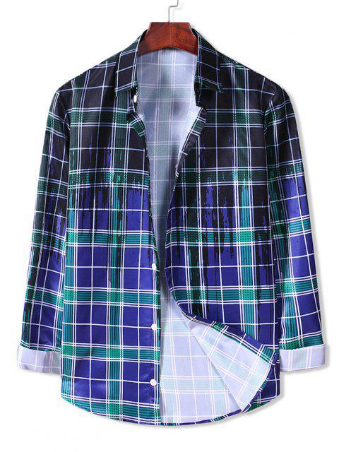 ladies Plaid Paint Splatter Button Down Shirt - BLUEBERRY BLUE 2XL Mobile