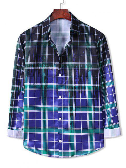 Camisa a Cuadros Estampado Salpicadura Pintura Botones - Azul de Arándanos XL Mobile