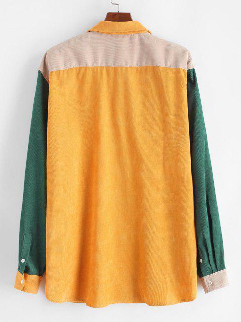 lady Pocket Colorblock Corduroy Shirt - YELLOW 2XL Mobile