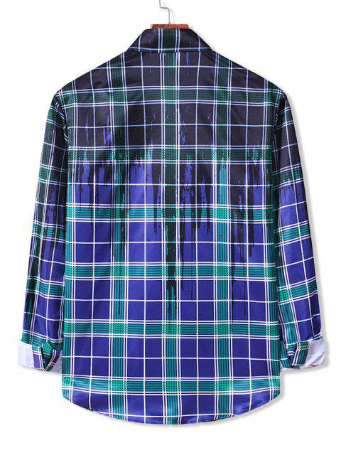 Camisa a Cuadros Estampado Salpicadura Pintura Botones - Azul de Arándanos S Mobile