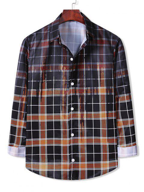 lady Plaid Paint Splatter Button Down Shirt - DARK ORANGE 2XL Mobile