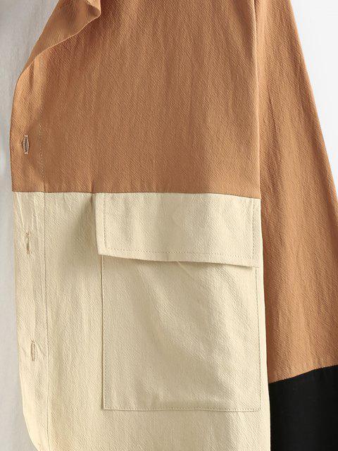 sale ZAFUL Long Sleeve Contrast Cargo Shirt - MULTI S Mobile