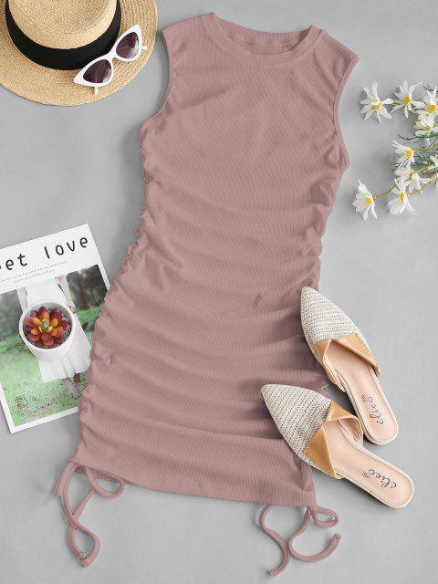 latest Ribbed Cinched Side Tank Dress - LIGHT PINK M Mobile