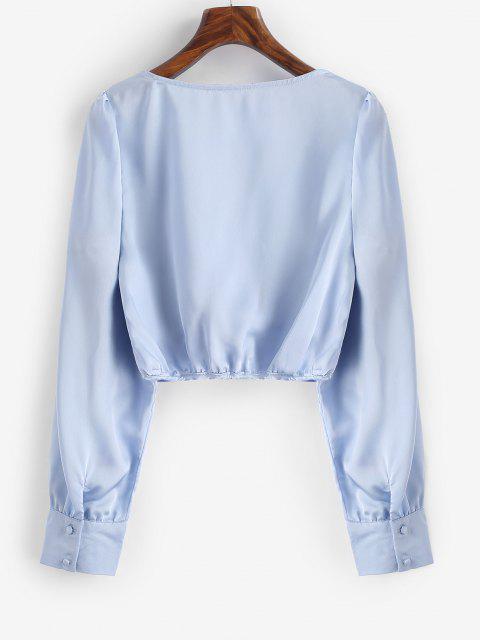 women Button Down Silky Satin Cropped Blouse - LAVENDER BLUE S Mobile