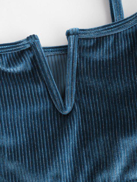 shop ZAFUL Shimmer Velvet Ribbed V Wired Bikini Top - DEEP BLUE S Mobile