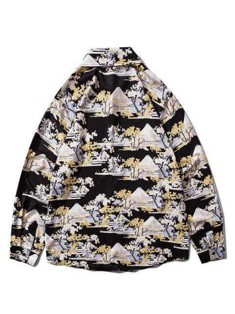 women Animal Scenery Print Long Sleeve Shirt - BLACK S Mobile