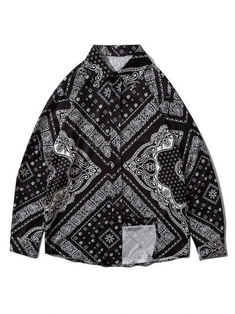 trendy Bandana Print Button Down Shirt - BLACK 2XL Mobile