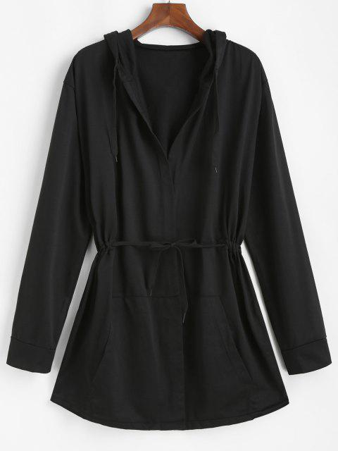 lady Hooded Open Front Toggle Drawstring Jacket - BLACK 2XL Mobile