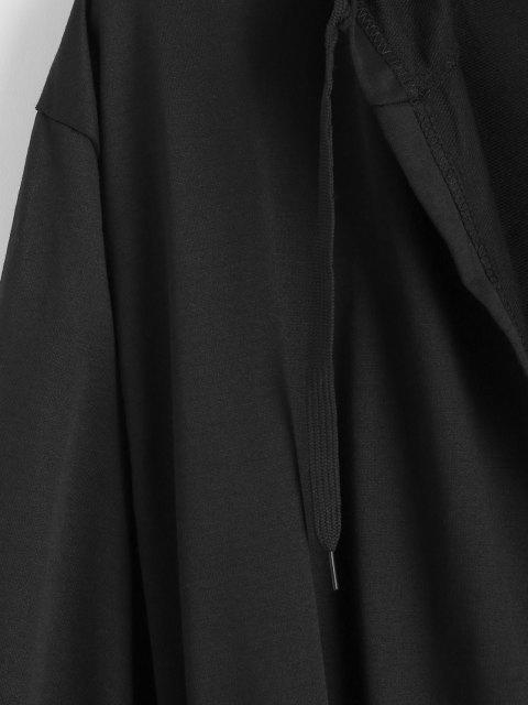 unique Hooded Open Front Toggle Drawstring Jacket - BLACK 3XL Mobile