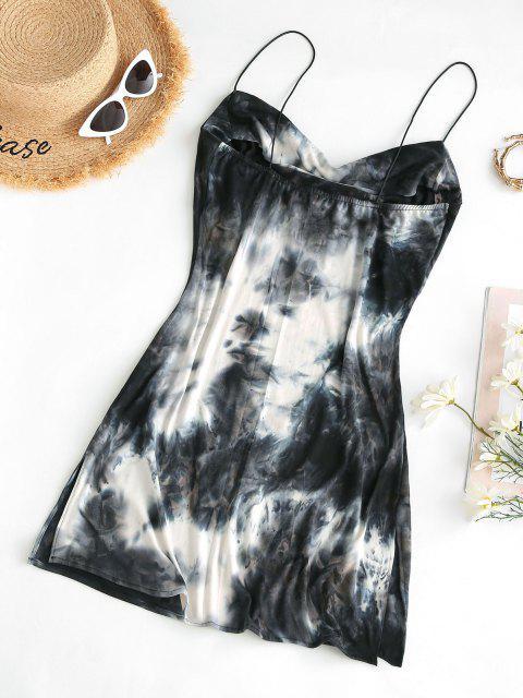 fancy Cowl Neck Tie Dye Side Slit Cami Dress - GRAY XL Mobile
