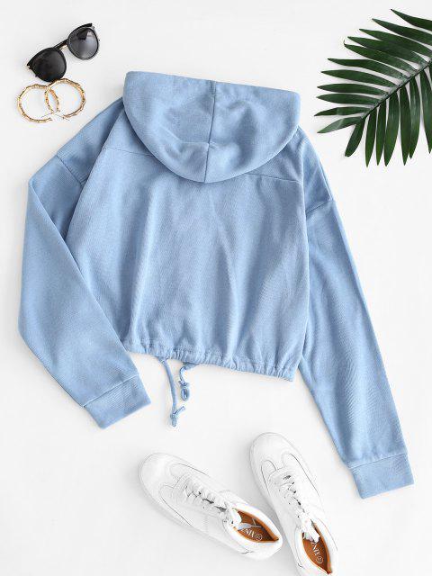 Hooded Front Pocket Knit Jacket - بلو كوي M Mobile