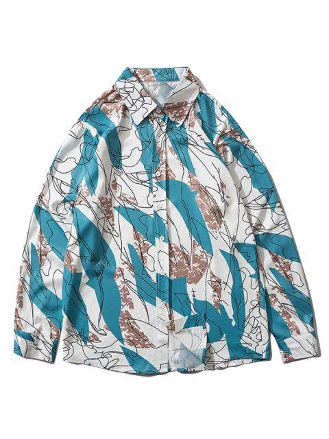 chic Drawing Graphic Pattern Button Up Shirt - DODGER BLUE L Mobile