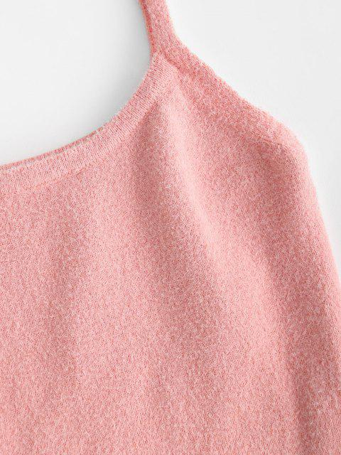 affordable Knitted Fuzzy Cropped Two Piece Dress - LIGHT PINK ONE SIZE Mobile