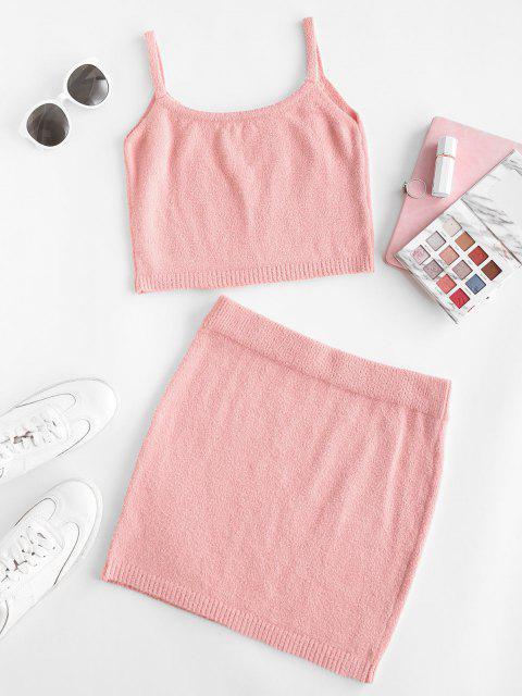 Gestrickte Unscharfe Zugeschnittes Zweiteiliges Kleid - Hell-Pink Eine Größe Mobile