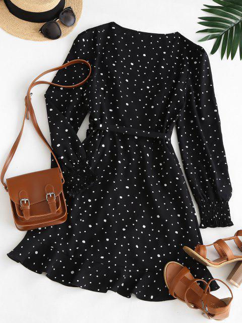 trendy ZAFUL Speckled Smocked Cuff Ruffle Wrap Dress - BLACK S Mobile