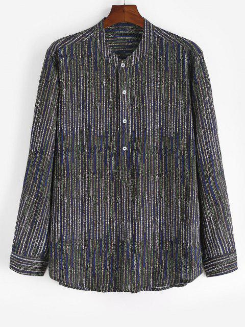 online Colored Striped Stand Collar Long Sleeve Shirt - DEEP GREEN XL Mobile
